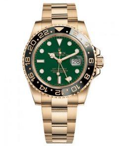 Replica de reloj Rolex Gmtmaster ll 06/1 (40mm) 116718GSO verde (Correa Oyster) Automático Gold
