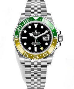 """Replica de reloj Rolex Gmt-Master ll 08 (40mm) 126710BLRO """"Sprite"""" Jubilee (Automático) Bisel Verde y amarillo"""