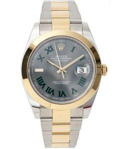 Replica de reloj Rolex Datejust 01 (41mm) wimbledon 126303 correa Oyster (Esfera gris) Acero y oro