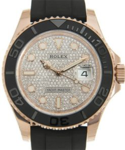 Replica de reloj Rolex Yacht master 01/1 (40mm) 126655 Oro (Diamantes) Correa de caucho Automático
