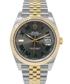 Replica de reloj Rolex Datejust 02 (41mm) wimbledon 126333 correa jubilee (Esfera gris) Acero y oro (Bicolor)