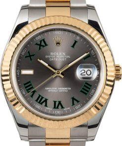 Replica de reloj Rolex Datejust 02 (41mm) wimbledon 126333 correa Oyster (Esfera gris) Acero y oro
